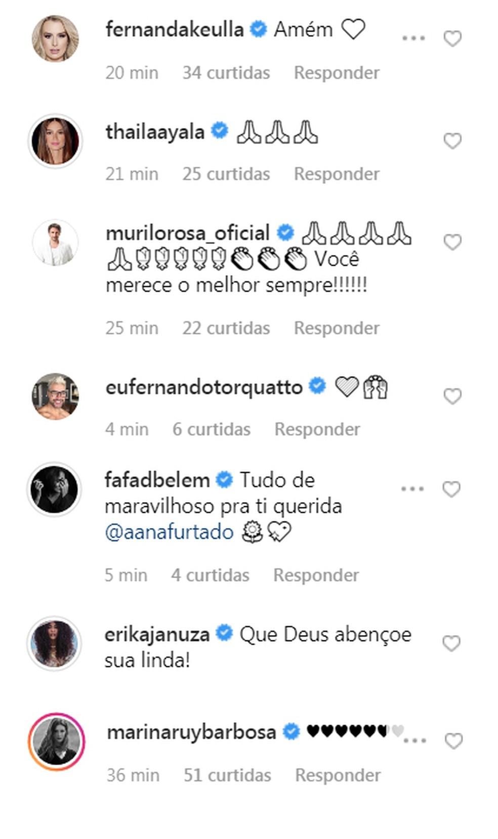 Famosos comentam o fim do tratamento de Ana — Foto: Reprodução / Instagram