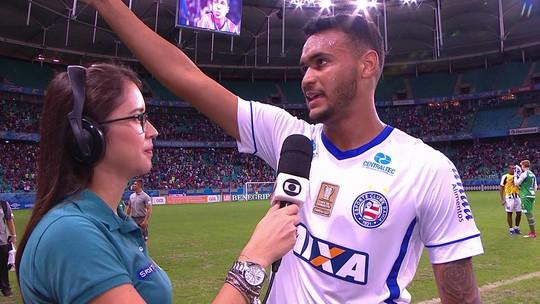 Autor do gol da vitória, Júnior Brumado festeja poder alegrar a torcida do Bahia