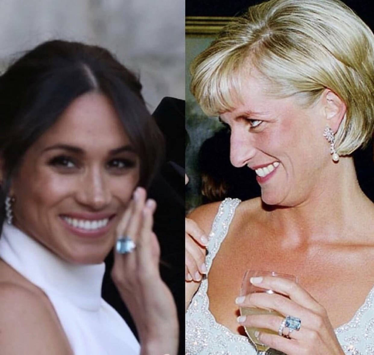 Meghan e Diana: o mesmo anel azul (Foto: Reprodução)