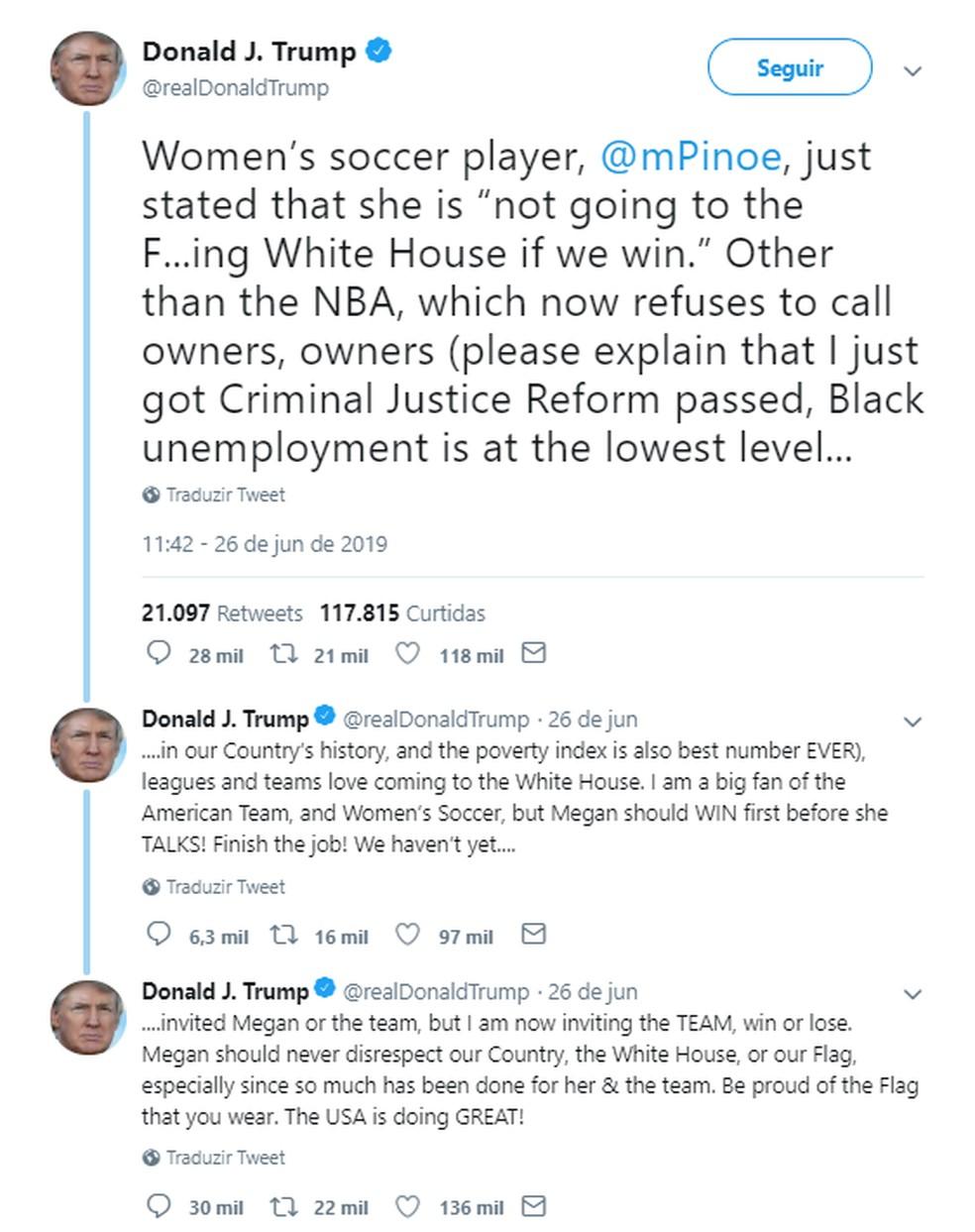 Presidente Donald Trump critica Megan Rapinoe em rede social — Foto: Reprodução
