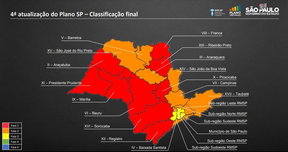 Novo mapa do Plano São Paulo, atualizado em 26 de junho de 2020 — Foto: Divulgação/ Governo de SP