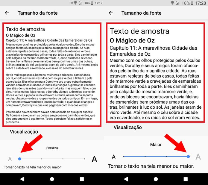 A visualização mostra como ficarão os textos do sistema em cada opção (Foto: Reprodução/Fernando Telles)