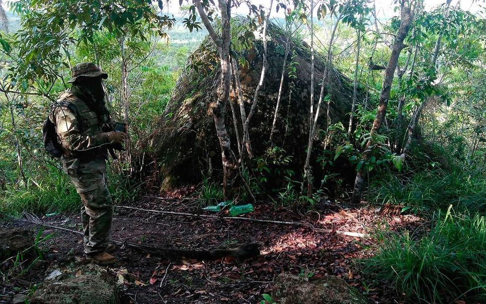 Polícia informou que acampamento foi instalado em área da zona rural de Nazaré (Foto: Divulgação/SSP-BA)