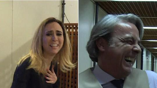 Gabriel Godoy assusta Tatá Werneck e Alexandre Borges nos bastidores de 'Haja Coração'