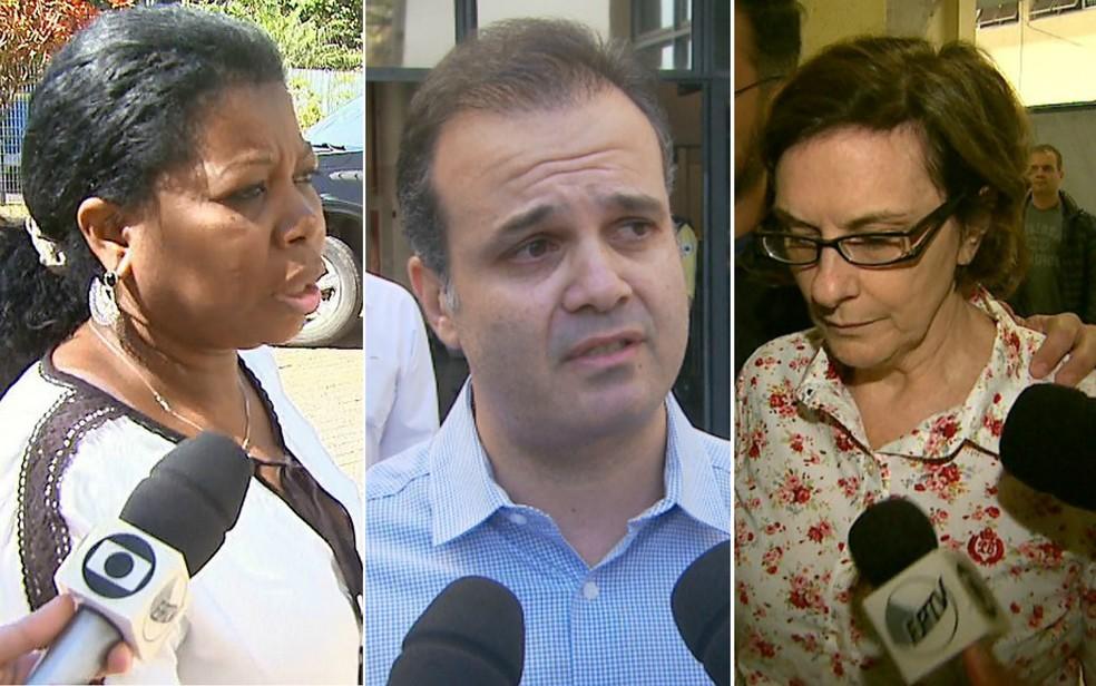O ex-superintendente da Coderp Davi Cury (centro) e as ex-funcionárias Vanilza Daniel (esquerda) e Maria Lúcia Pandolfo (direita) — Foto: Reprodução/EPTV