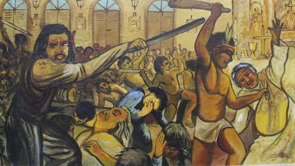 Quadro mostra massacre em Cunhaú, no Rio Grande do Norte. Os mortos identificados foram declarados santos | Imagem pintada por Padre Eladio — Foto: BBC/Divulgação