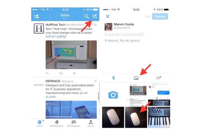 Acessando a ferramenta para postar imagens do Twitter no iOS (Foto: Reprodução/Marvin Costa)