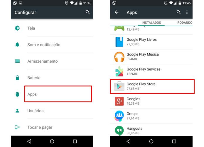 Abra as opções da Google Play (Foto: Reprodução/Paulo Alves)