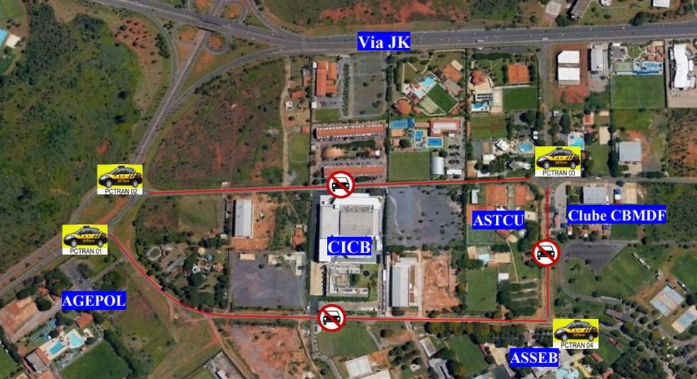 Mapa mostra mudanças no trânsito de Brasília durante XI Cúpula do Brics — Foto: Detran-DF/Reprodução