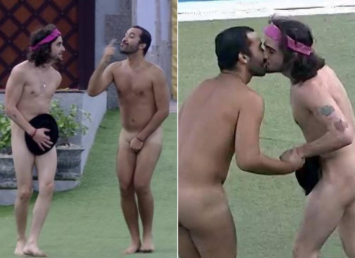 Fiuk e Gil deram selinho e pularam na piscina pelados após volta do paredão (Foto: Reprodução / TV Globo)