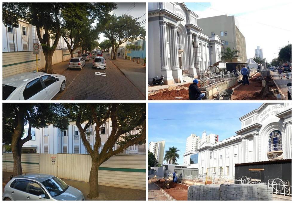 Imagens mostram o antes e o depois das árvores na calçada da Santa Casa de Araraquara (Foto: A CidadeON/Araraquara e reprodução Google Street View)