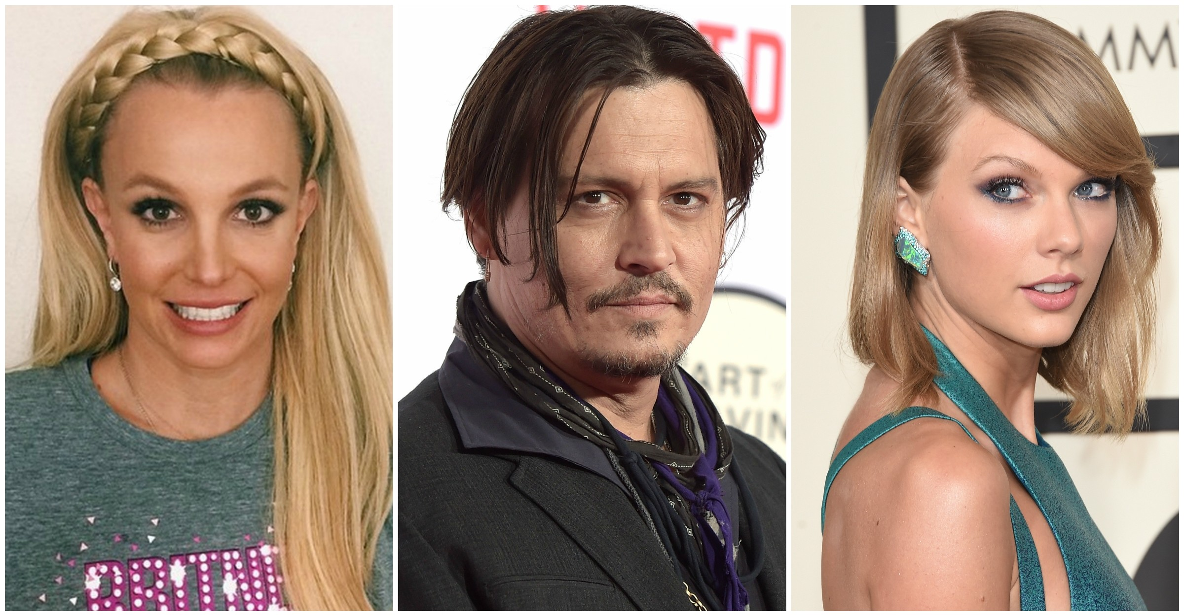Britney Spears, Johnny Depp e Taylor Swift. (Foto: Instagram e Getty Images)