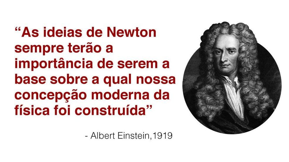 Newton baseou as afirmações de Einstein — Foto: BBC