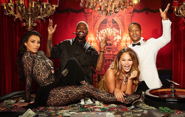 Kim Kardashian, Kanye West, Chrissy Teigen e John Legend (Foto: Reprodução Instagram)