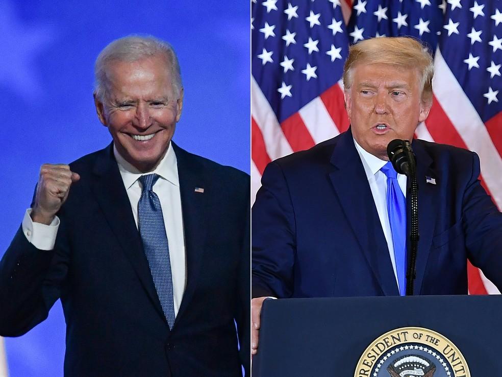 Biden e Trump em seus discursos durante apuração acirrada da eleição nos EUA, na madrugada desta quarta-feira (4). — Foto: MANDEL NGAN, ANGELA WEISS / AFP