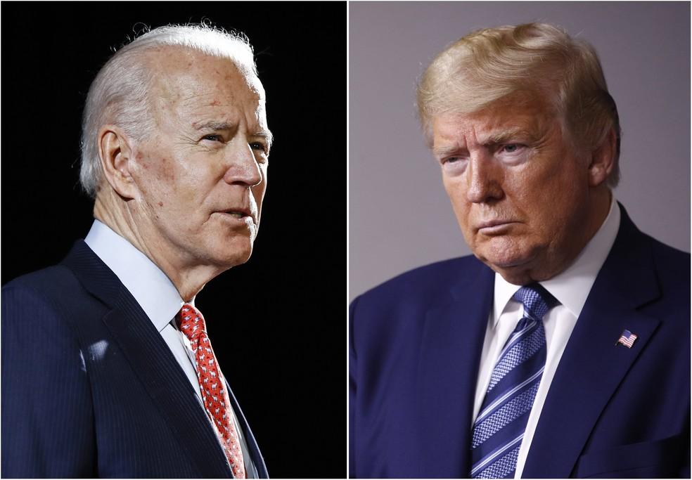 John Biden e Donald Trump diputam eleição presidencial nos EUA em novembro — Foto: AP/Arquivo