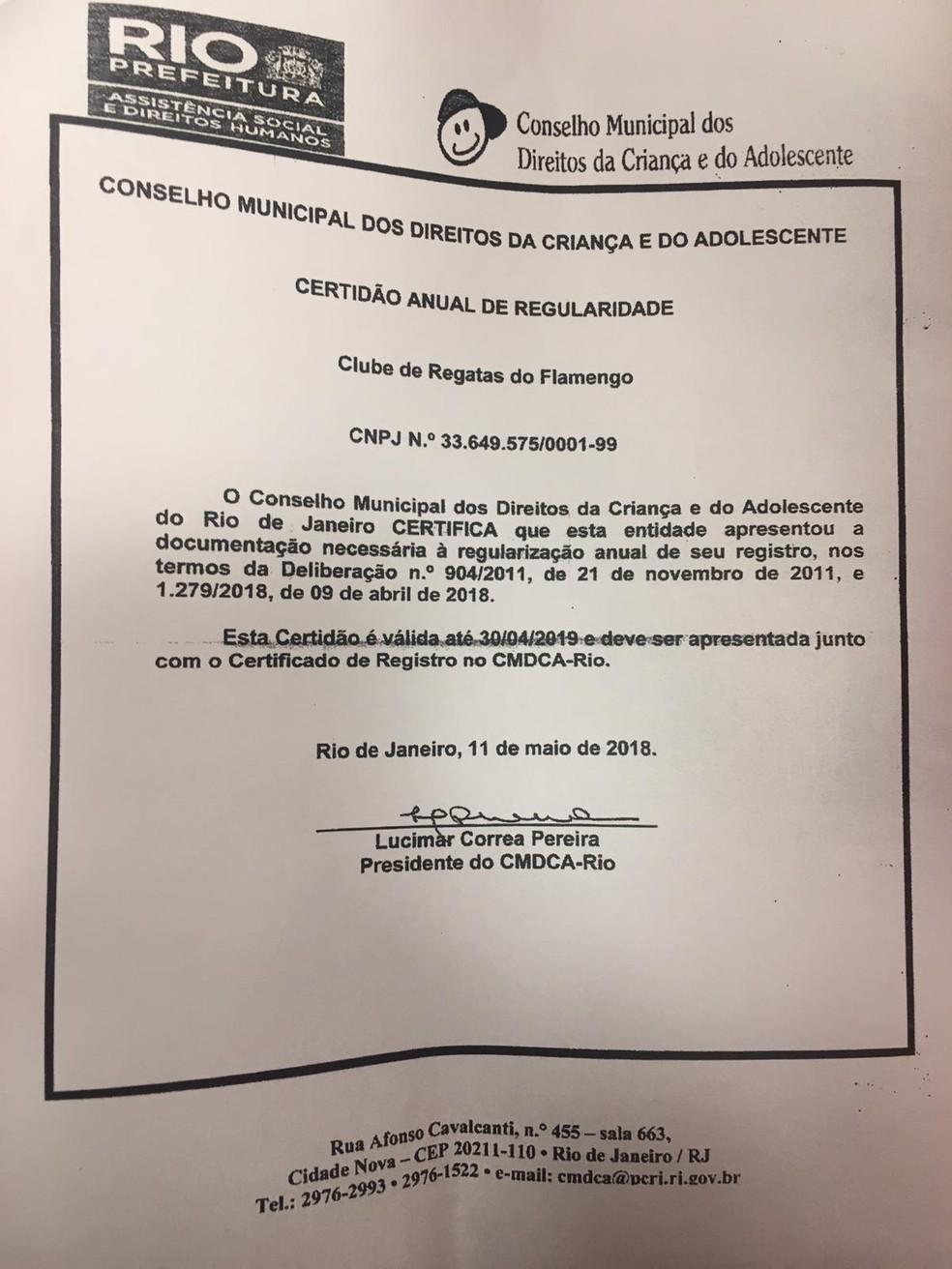 Outro documento apresentado pelo Flamengo neste sábado — Foto: Reprodução/Flamengo