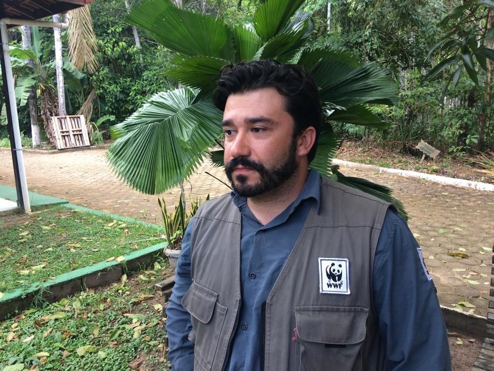 Osvaldo Barassi, gestor de projetos do programa Amazônia da WWF, esteve em Porto Velho ministrando o curso de drones.  — Foto: Ana Kézia Gomes/G1