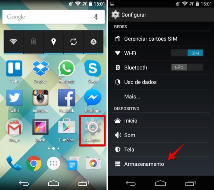 Acesse as configurações de armazenamento do Android (Foto: Reprodução/Helito Bijora)