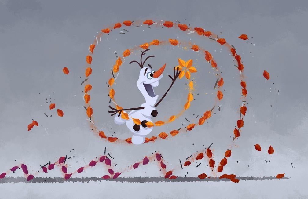 """Olaf interage com Gale, o vento, em esboço de """"Frozen 2"""" — Foto: Divulgação/Disney"""