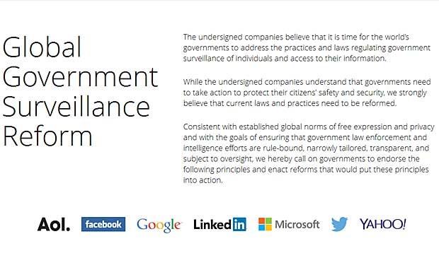 Gigantes da tecnologia se unem para pedir regulação da vigilância dos EUA (Foto: Reprodução / Reform Government Surveillance)