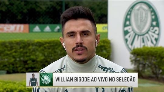 """Na vaga de Borja, Willian comemora boa fase no Palmeiras: """"É importante o Roger ter características diferentes"""""""