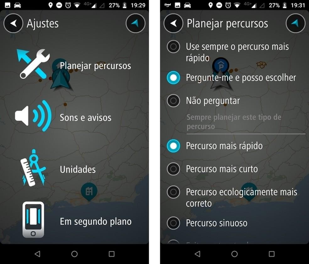 TomTom GO Brasil permite ao usuário escolher que tipo de rota quer priorizar — Foto: Reprodução/Raquel Freire