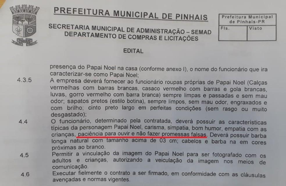 No edital de licitação, Prefeitura de Pinhais exige que Papai Noel não faça 'promessas falsas' — Foto: Arquivo pessoal
