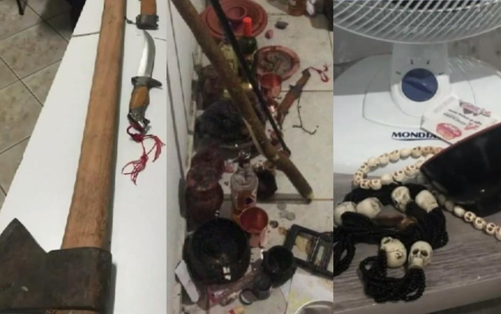 Objetos encontrados na casa do casal que levantaram suspeita de tortura em rituais — Foto: Reprodução/TV Anhanguera