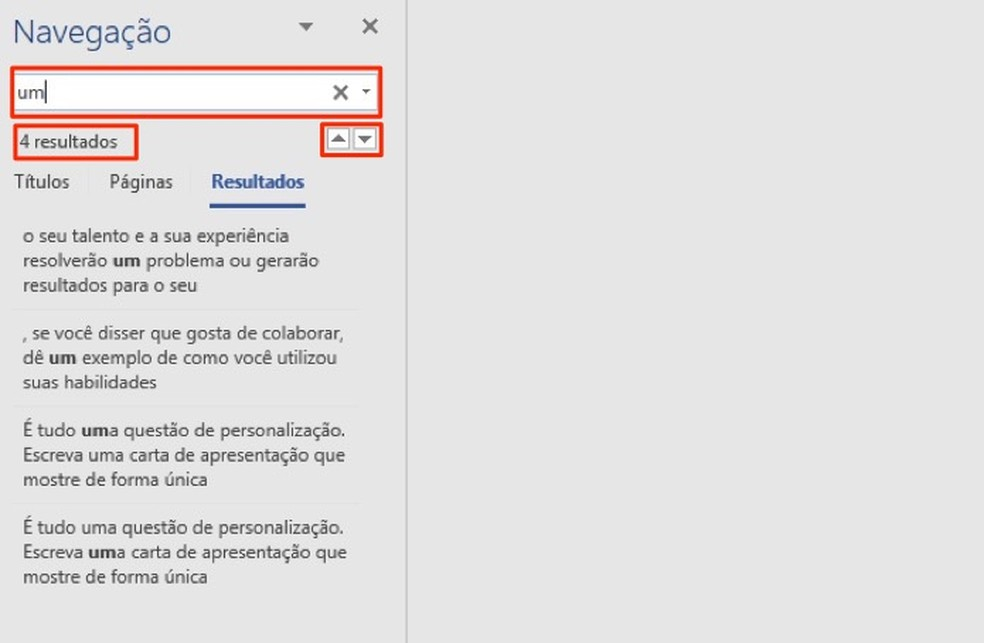 Ação para buscar por termos em um documento no Microsoft Word — Foto: Reprodução/Marvin Costa