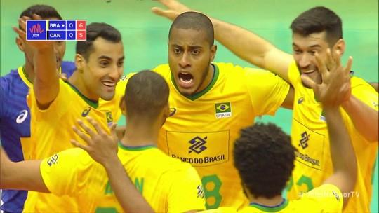 Em treino de luxo, Brasil muda time, mas se mantém firme e vence Canadá na Liga das Nações