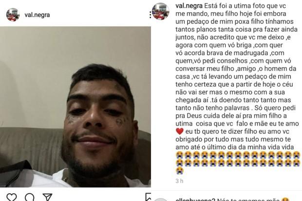 Valquiria, mãe de MC Kevin, lamenta a morte do filho (Foto: Reprodução/Instagram)