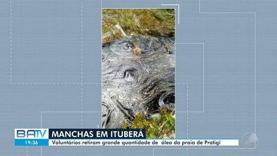 Óleo atinge praia de Pratigi, em Ituberá, e grupo retira cerca de 2 toneladas de resíduos da região