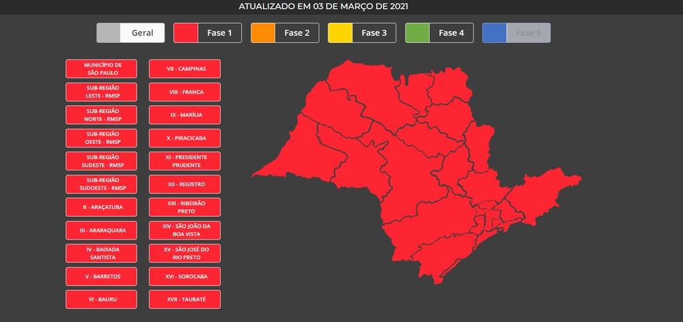 Mapa do estado atualizado após anúncio do governo de SP — Foto: Reprodução/Governo de SP