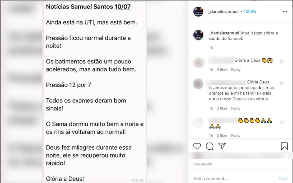 Post nas redes sociais fala sobre melhora do cantor gospel Samuel Santos, que faz dupla com o irmão Daniel  — Foto: Reprodução Instagram