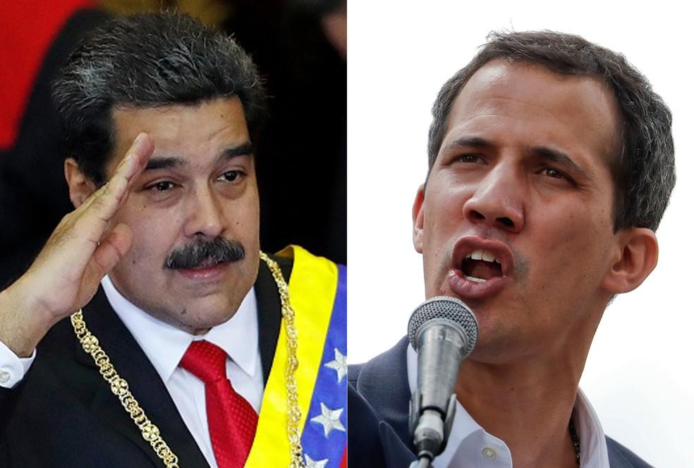 Nicolás Maduro e Juan Guaidó disputam a legitimidade do poder na Venezuela — Foto: Carlos Garcia Rawlins/Reuters