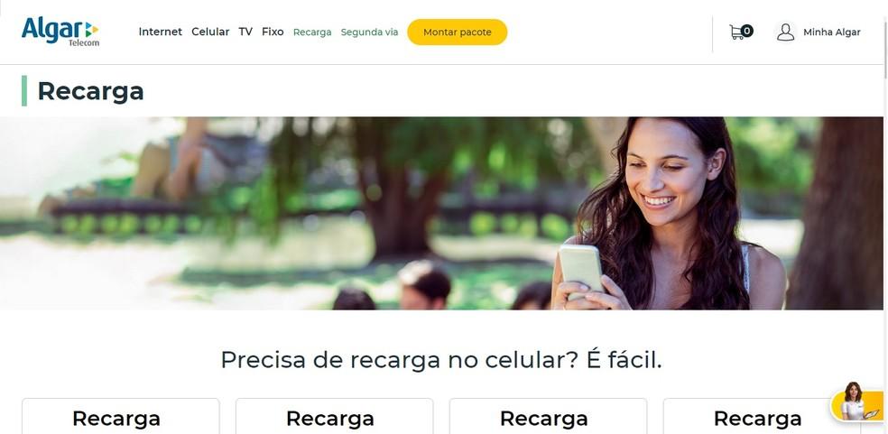 Portal de recarga da Algar Telecom — Foto: Reprodução/Larissa Infante