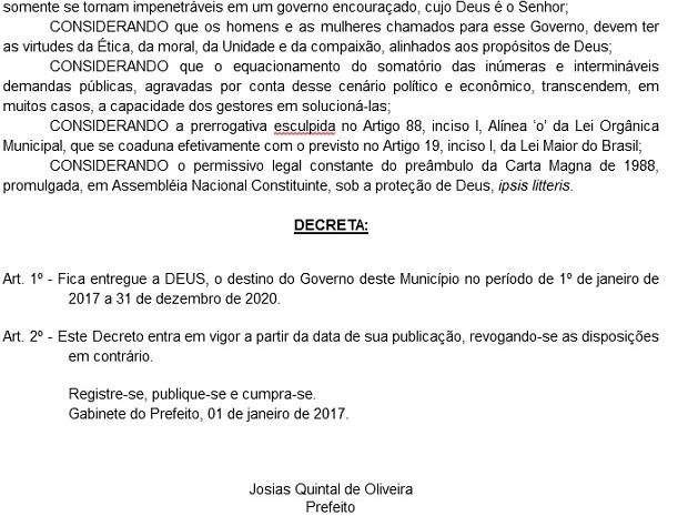 Decreto do prefeito Josias Quintal (Foto: Portal da Transparência Santo Antonio de Pádua/Reprodução)