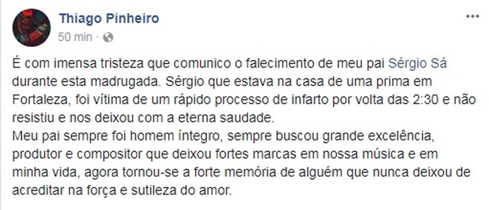 Thiago Pinheiro, filho de Sérgio Sá, confirma morte do compositor (Foto: Reprodução/Instagram)