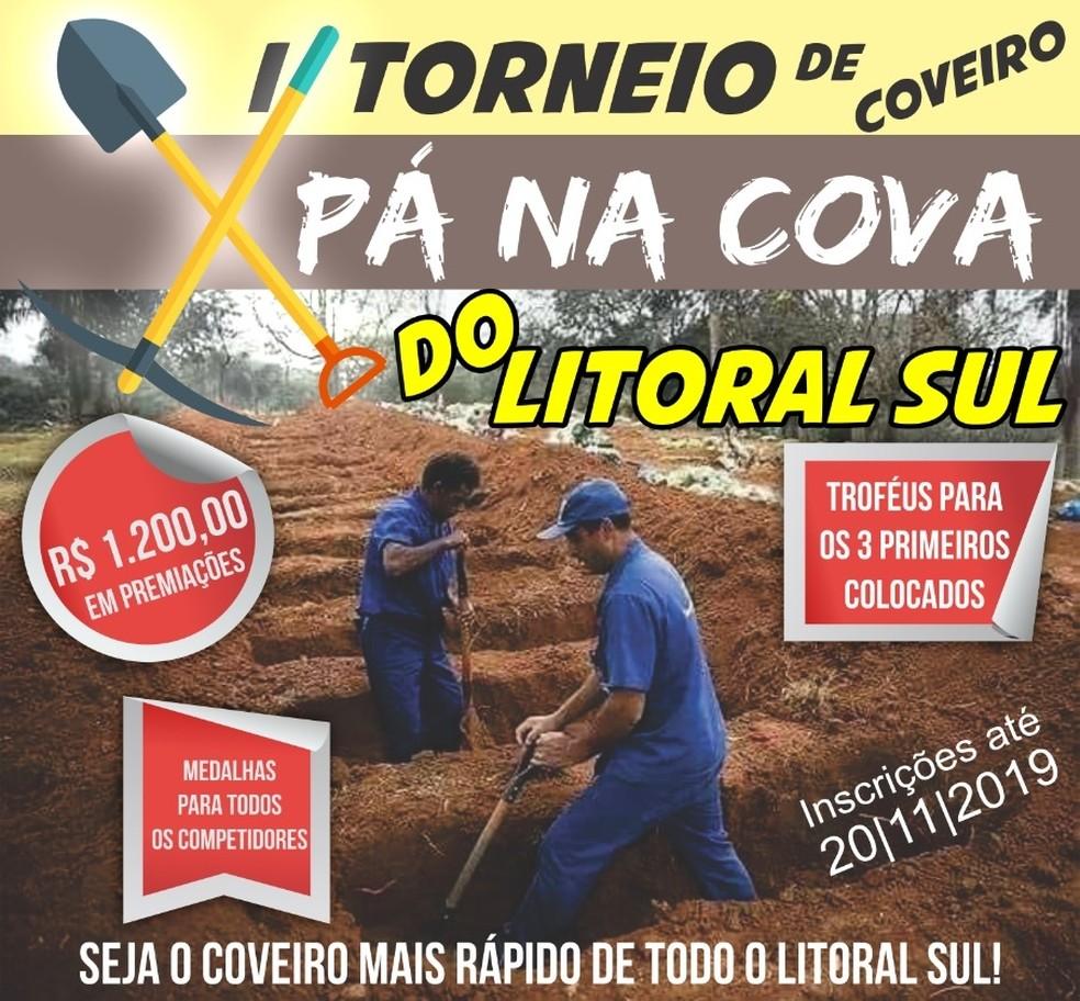 Torneio de coveiro na cidade de Conde, no Litoral Sul da Paraíba, vai eleger coveiro mais rápido — Foto: Reprodução