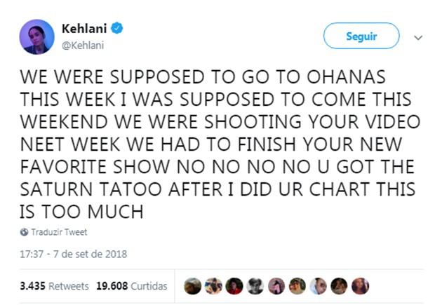 Mensagem de Kehlani sobre a morte de Mac Miller (Foto: Reprodução/Twitter)