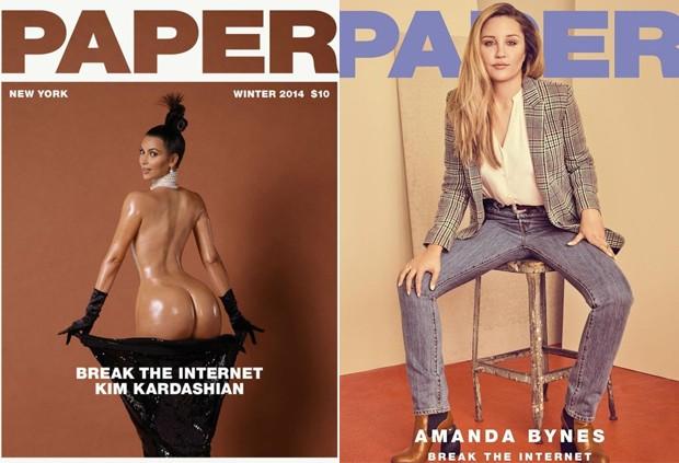 Kim Kardashian, em 2014, e Amanda Bynes, em 2018, quebram a internet (Foto: Divulgação/Paper Magazine)