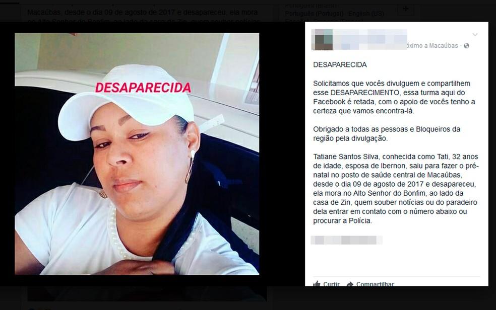 Tatiane Santos estava desaparecida desde a quarta-feira (9), na Bahia (Foto: Reprodução/Facebook)