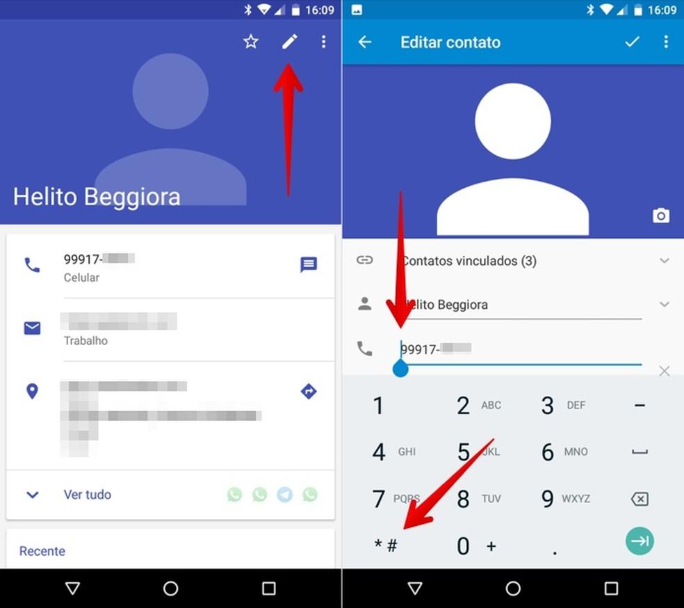 Edite o número do contato no celular Android — Foto: Reprodução/Helito Beggiora