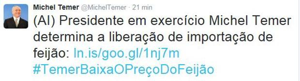 Presidente anunciou importação de feijão no Twitter (Foto: Reprodução/Twitter)