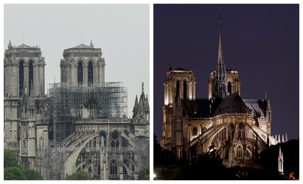 Catedral de Notre Dame depois (à esq.) e antes do incêndio desta segunda (15). — Foto: AFP (esquerda) e Reuters (direita).