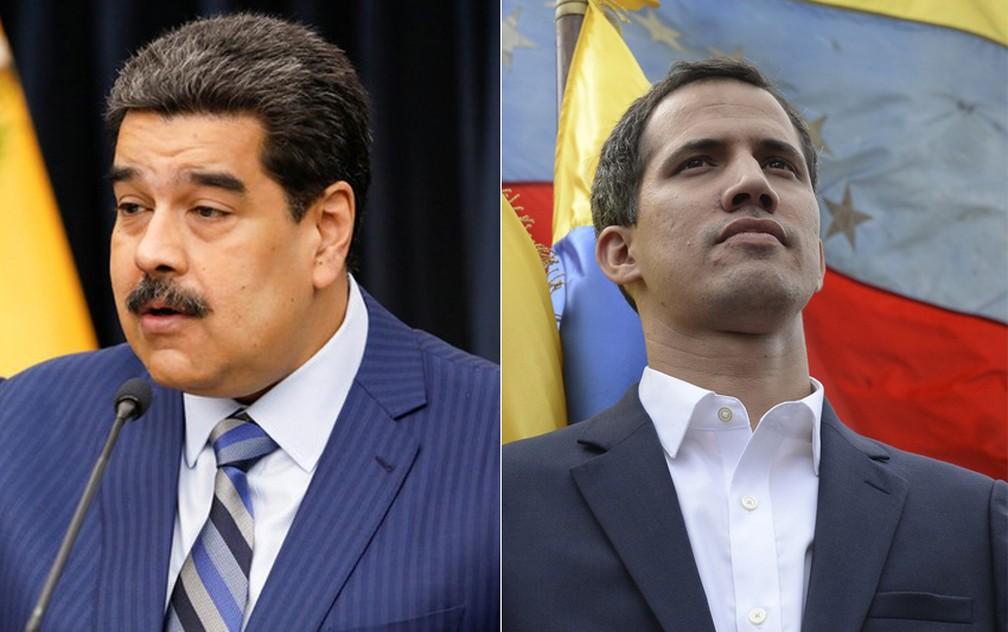 Maduro e Guaidó — Foto: Federico Parra/ AFP