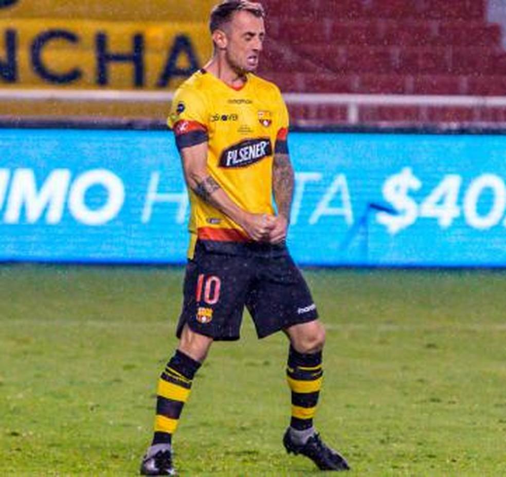 Díaz já fez oito gols na temporada e é o destaque do time — Foto: Divulgação / Barcelona SC