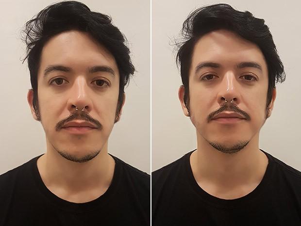 Um antes e depois após 50 minutos de procedimento. Achei bem diferente!   (Foto: Marcela Arribet)