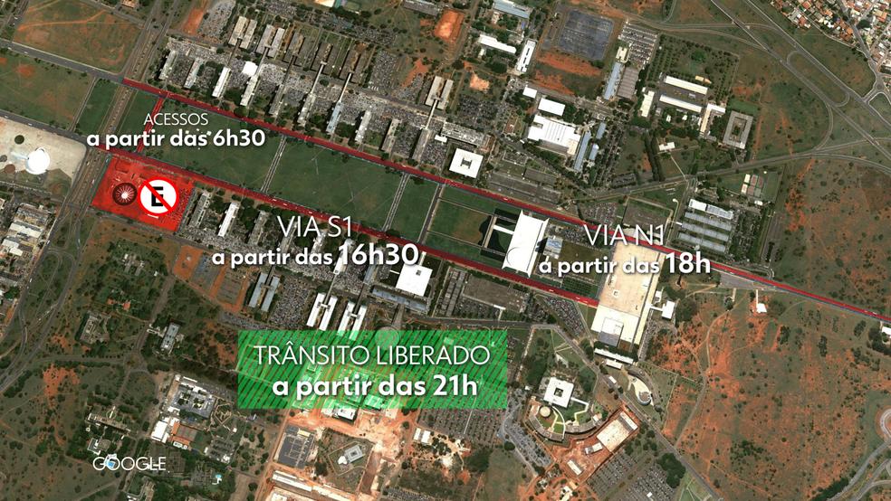 Mapa de interdição do trânsito na Esplanada no dia 12 (Foto: TV Globo/Arte)